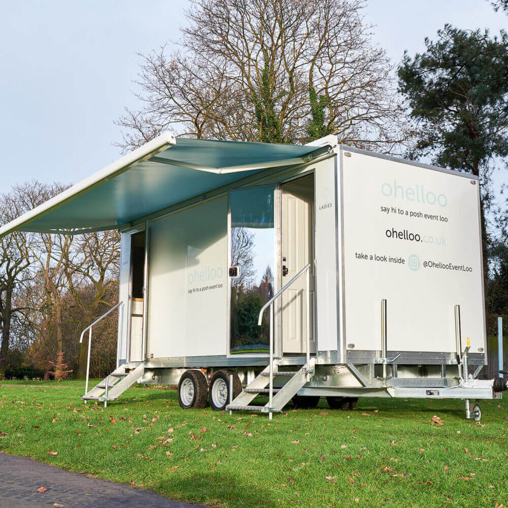 Portable Toilet Hire for Wedding - Ohelloo Wedding Loo with Awning, Leicester